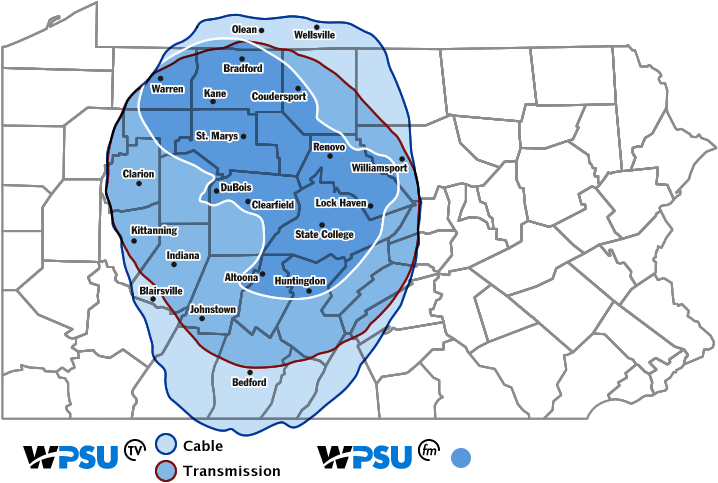 Map of Pennsylvania showing WPSU's broadcast signal reaching most of the central counties