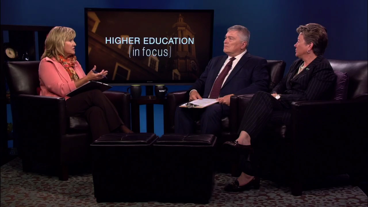 Patty Satalia, Eric Baron and Sandy Barbour on the set of HIgher Education in Focus