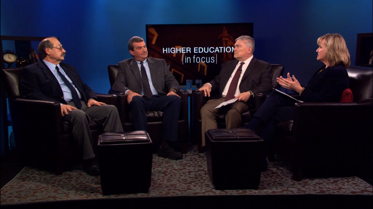 Patty Satalia and Eric Baron with guests Al Maryasovsky and Black on the set of Higher Education in Focus