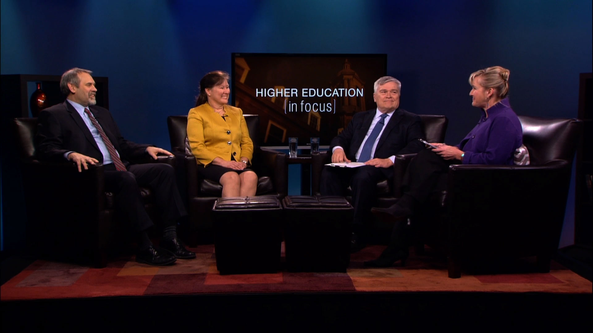 Renata S. Engel and David Christiansen with Eric Baron and Patty Satalia on the set of Higher Education in Focus