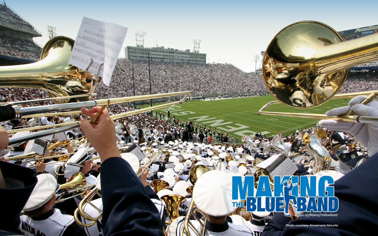 Making the Blue Band title card, view of Blue Band member performing from the stands in Beaver Stadium