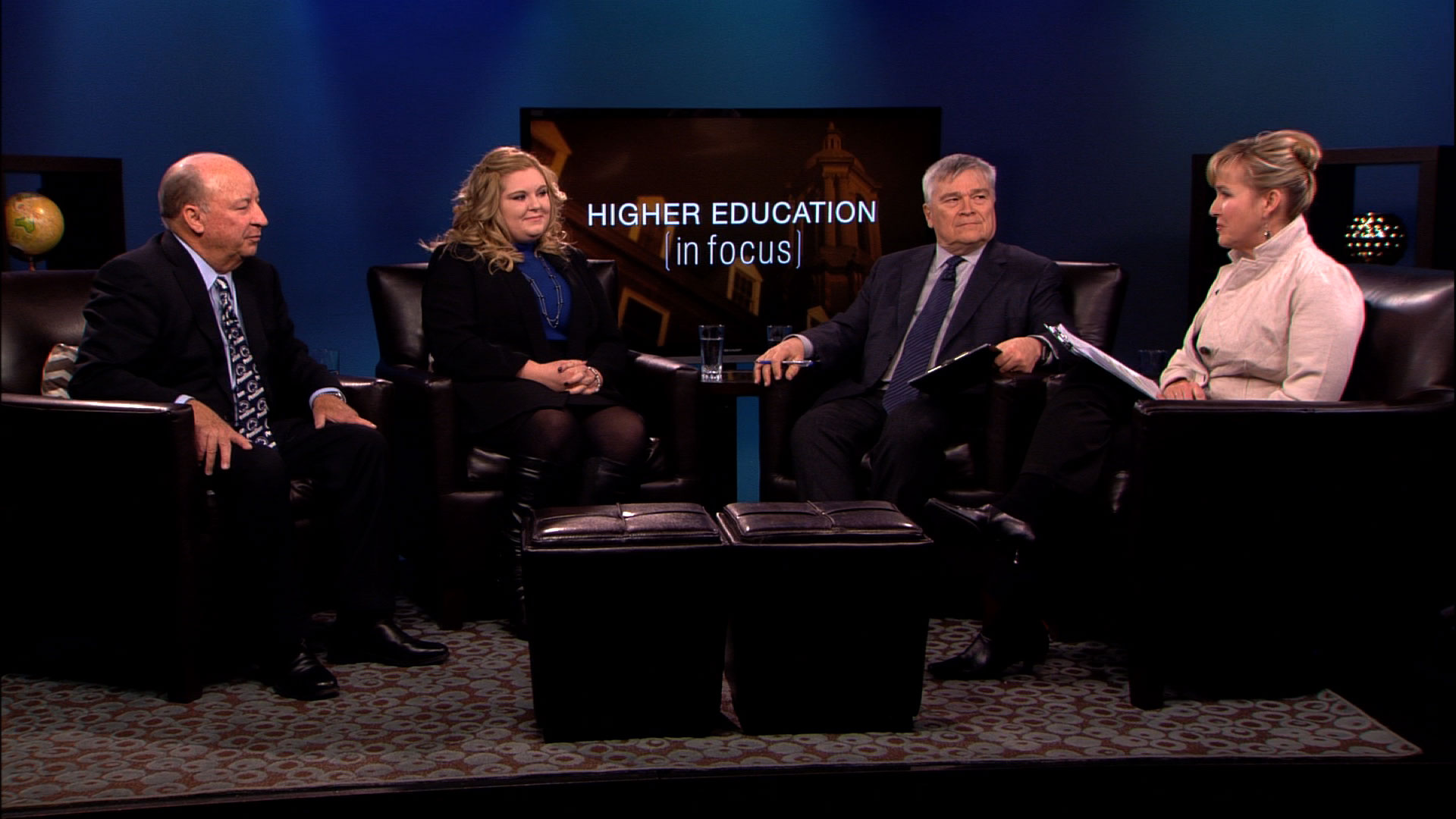 Steve Sheetz, Loretta Zeth, Eric Baron and Patty Satalia on the set of Higher Education in Focus