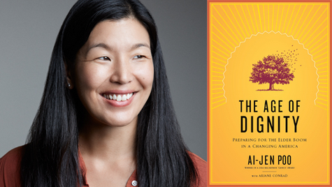 Photo of Ai Jen Poo next to image of book cover, The Age of Dignity