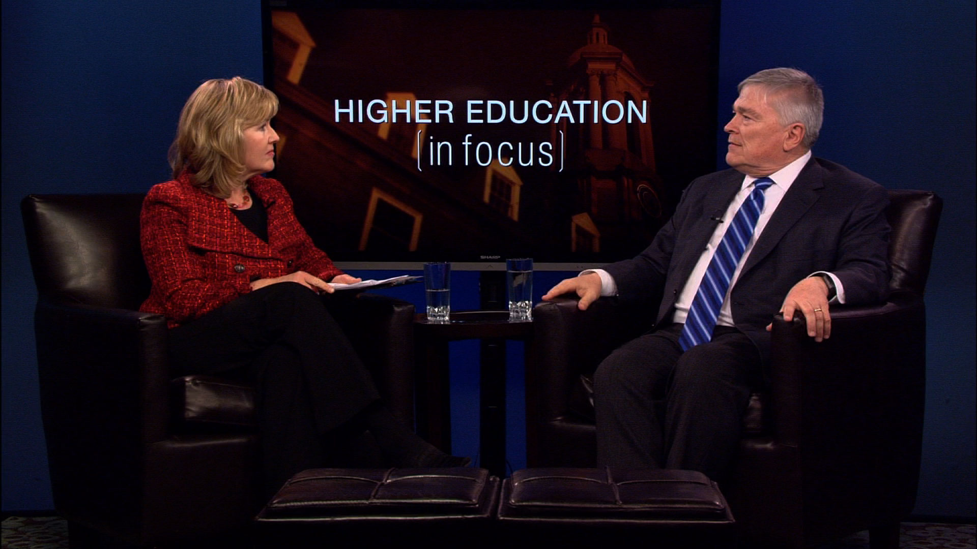 Patty Satalia and Eric Barron on the set of Higher Education in Focus