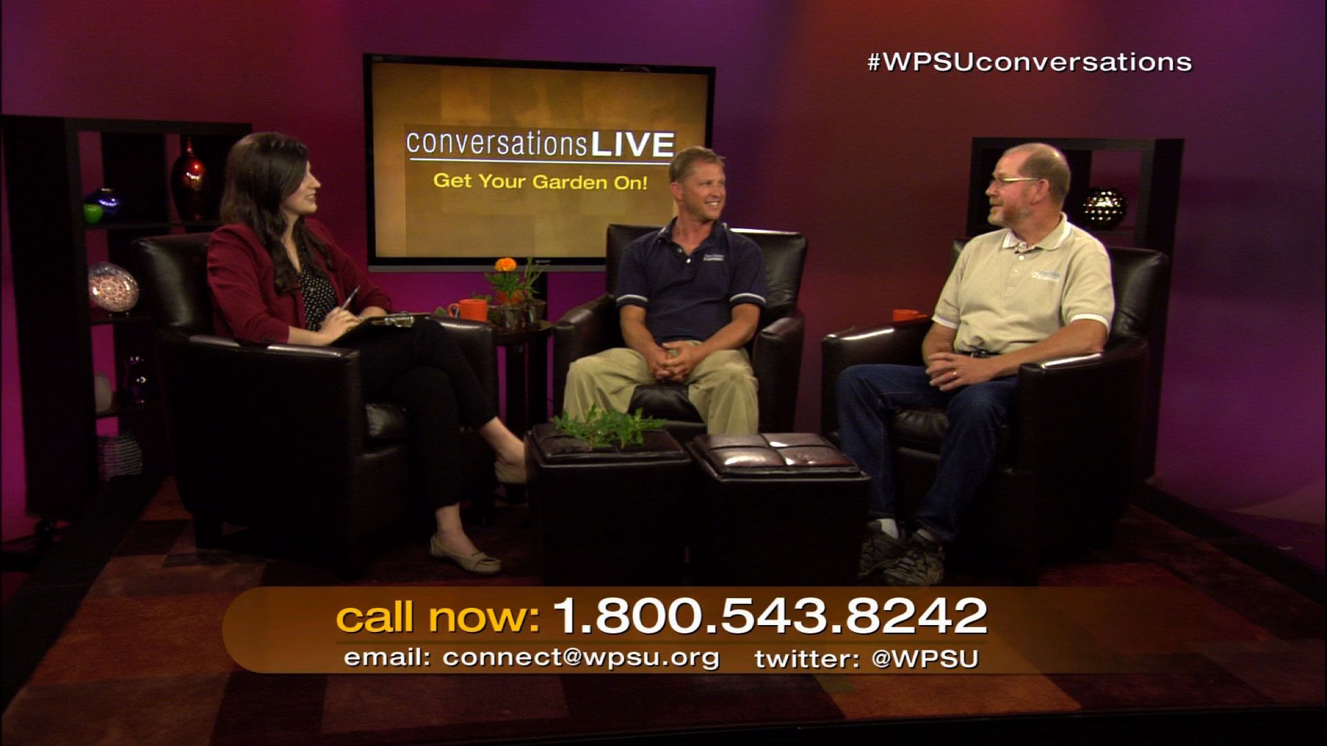 Lindsey Whissel, Tom Butzler and John Esslinger on the set of Conversations Live