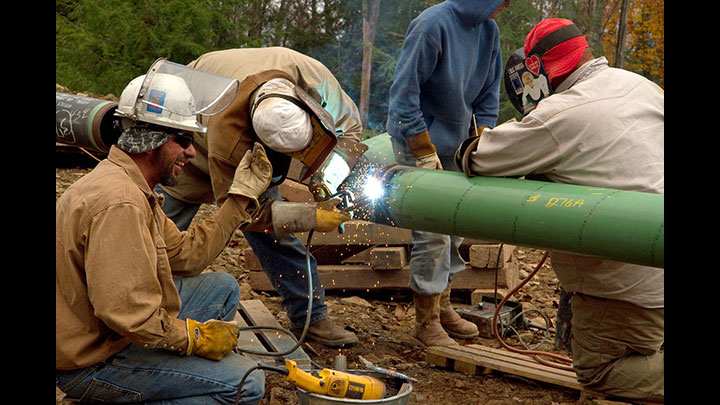 Crews weld a pipeline the Loyalsock State Forest.