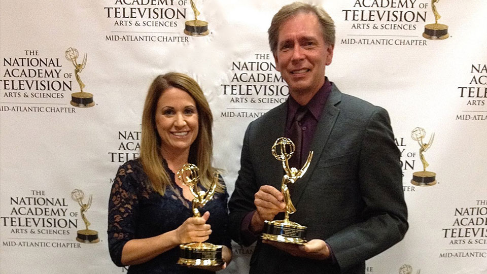 WPSU producers Mindy McMahon and Kristian Berg holding their 2015 emmy awards.