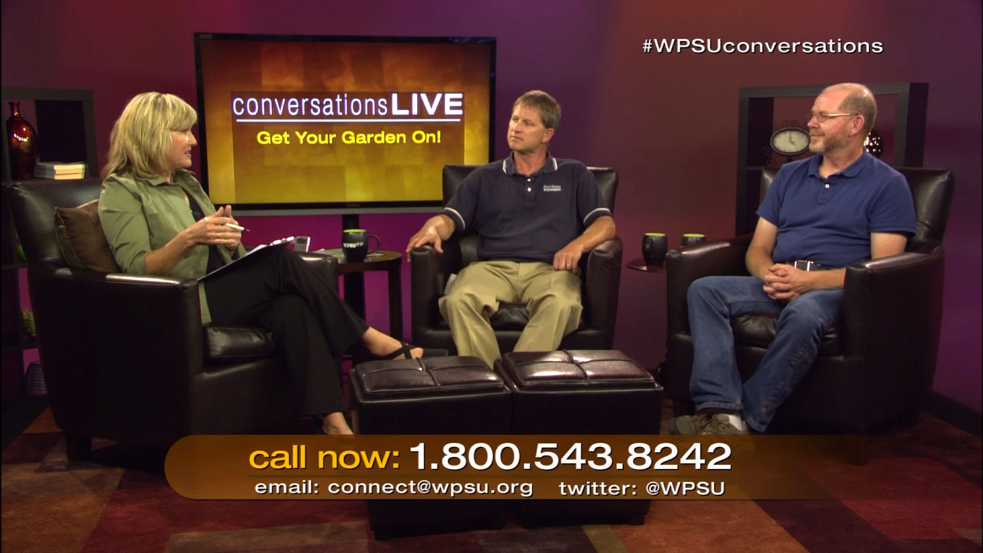 Patty Satalia, Tom Butzler and John Esslinger on the set of Conversations Live