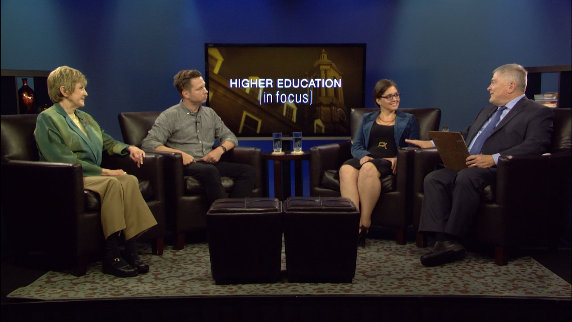 Penn State President Eric Barron and guests on the set of Higher Education in Focus