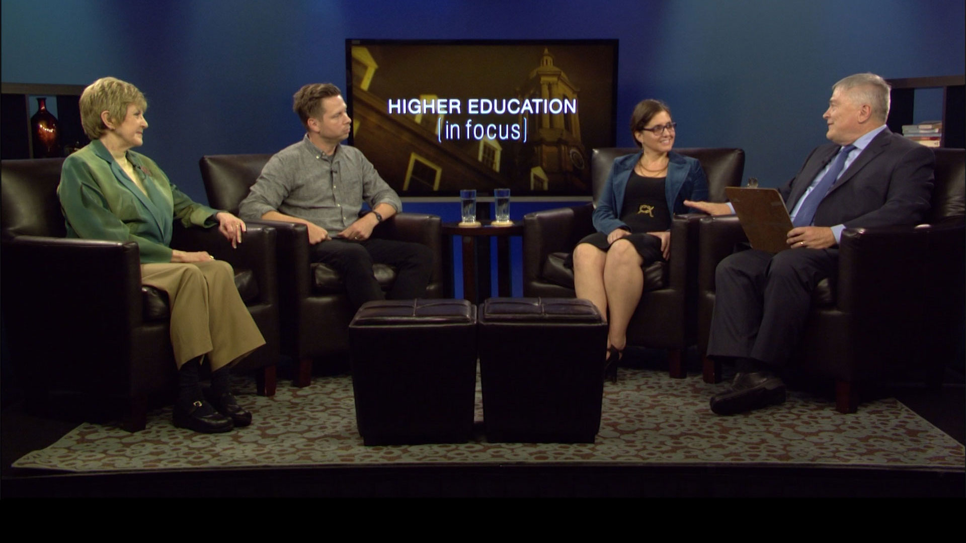 Penn State President Eric Barron with guests on the set of Higher Education in Focus