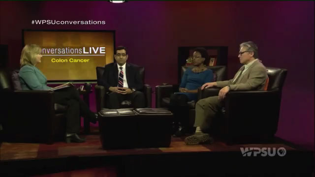 Patty Satalia and guests, Hassan Sheikh, Cheraine Stanford, and Robert Khoo on the set of Conversations Live