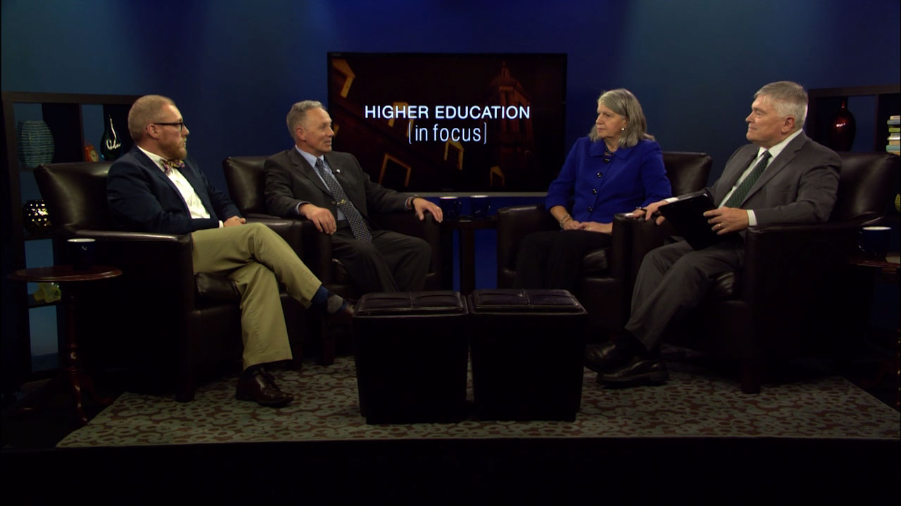 Eric Barron and guests on the set of Higher Education in Focus