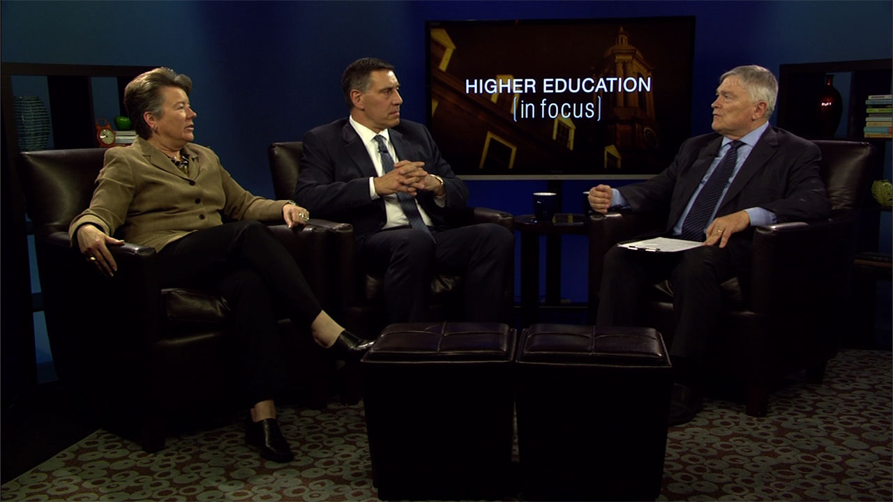 Sandy Barbour, Scott Radecic, and Eric Baron on the set of Higher Education in Focus