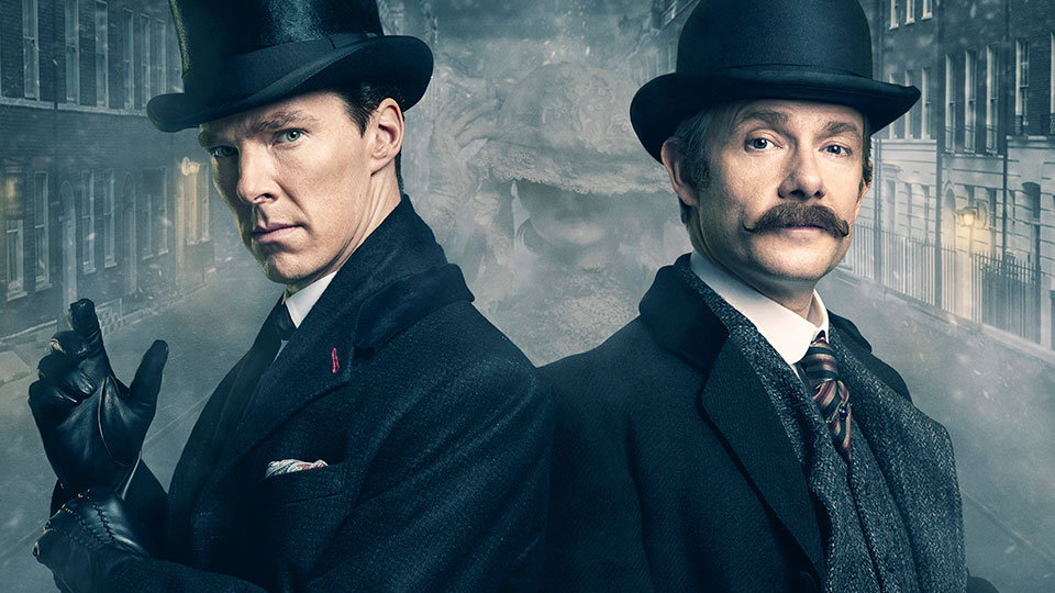 Benedict Cumberbatch and Martin Freeman as Sherlock Holmes and John Watson