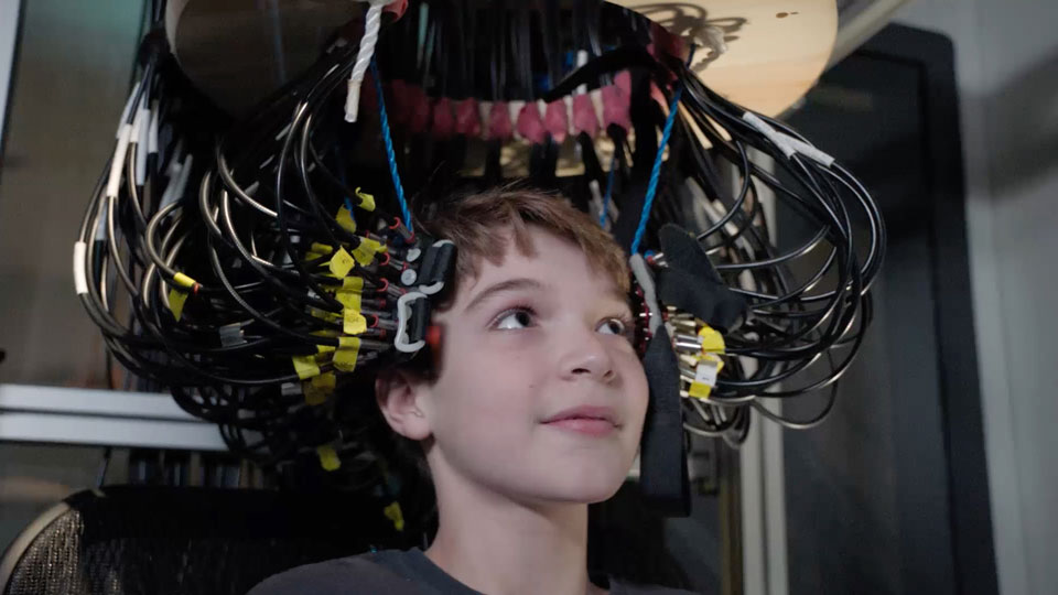 "11-year-old ""super memory"" kid Jake Hausler in DOT scanner at Washington University"