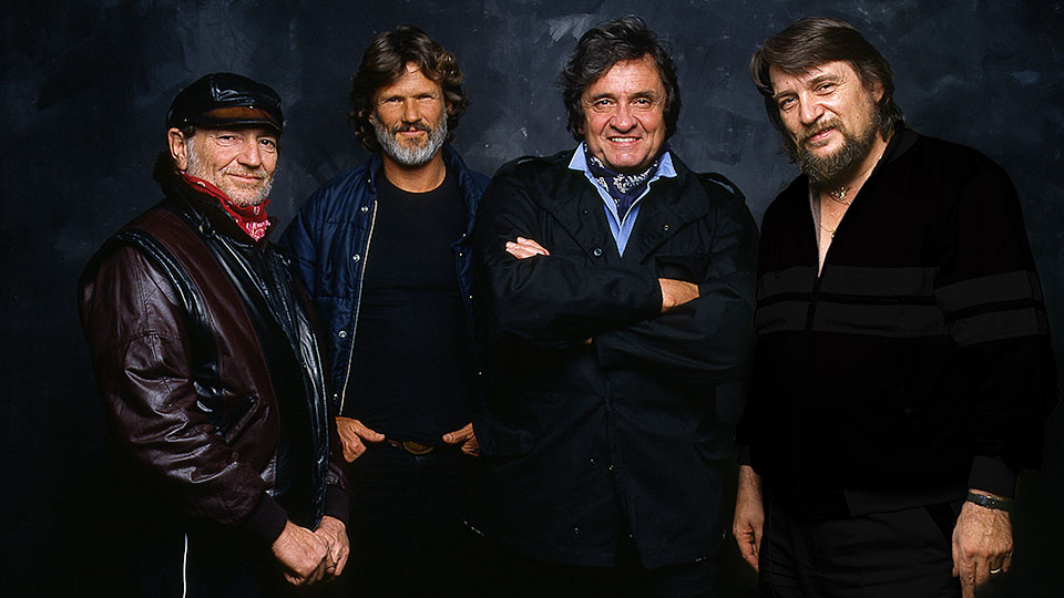 (l to r) Pioneering outlaw country music supergroup The Highwaymen featured Willie Nelson, Kris Kristofferson, Johnny Cash and Waylon Jennings.
