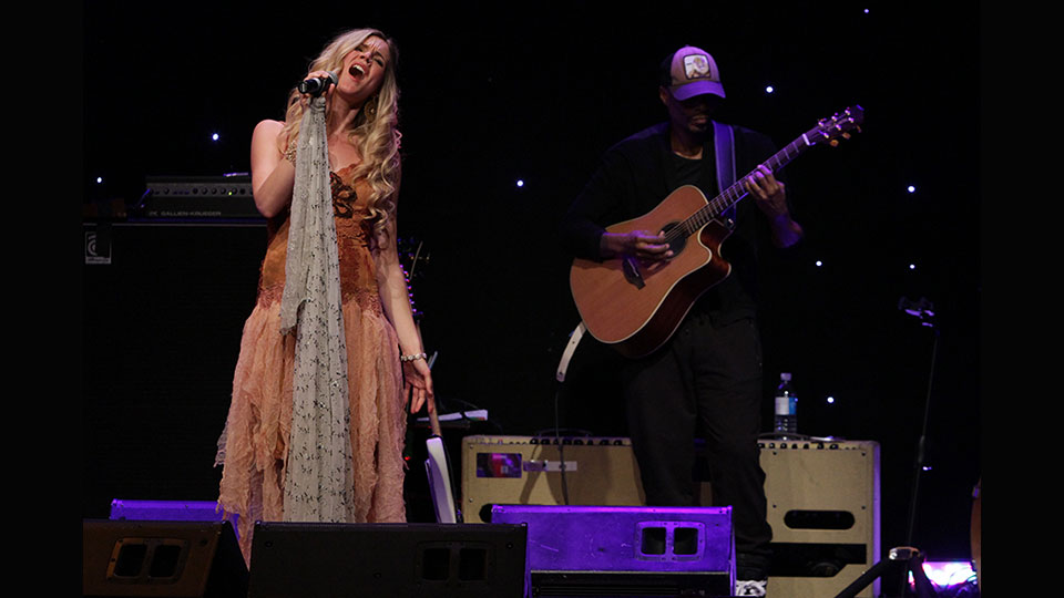 Joss Stone performing on stage
