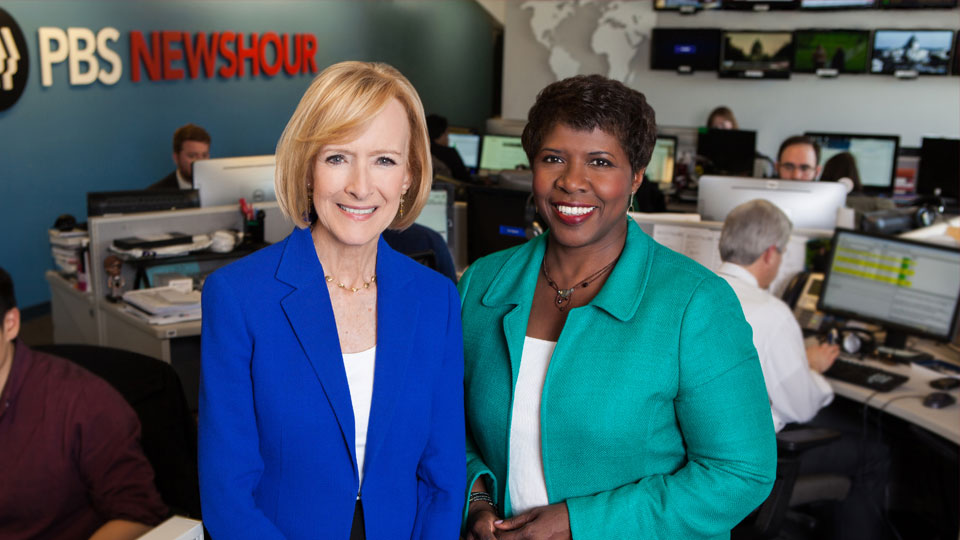 Judy Woodruff (left) and Gwen Ifill (right) co-anchor the nightly broadcast.