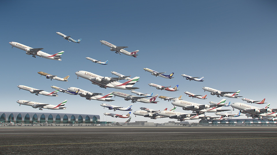 GFX image of planes taking off from Dubai International Airport.