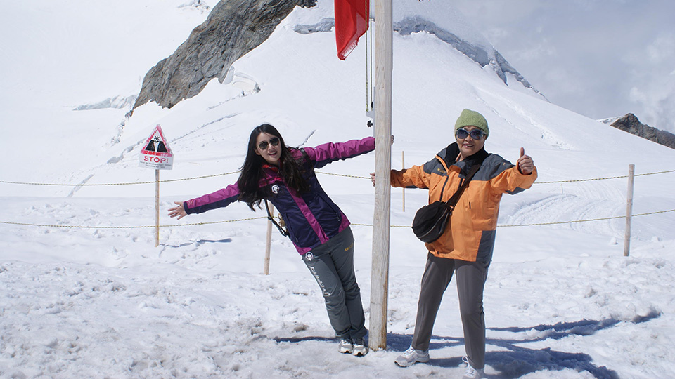 Biyun Song and her grandma at Jungfrau in the Alps in Switzerland.
