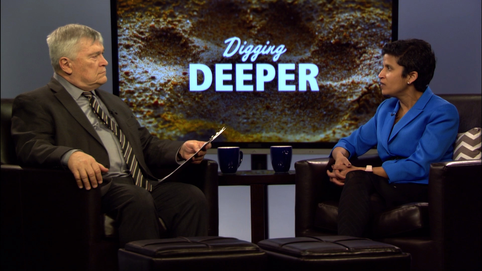 Eric Barrona and Shoba Sivaprasad on the set of Digging Deeper