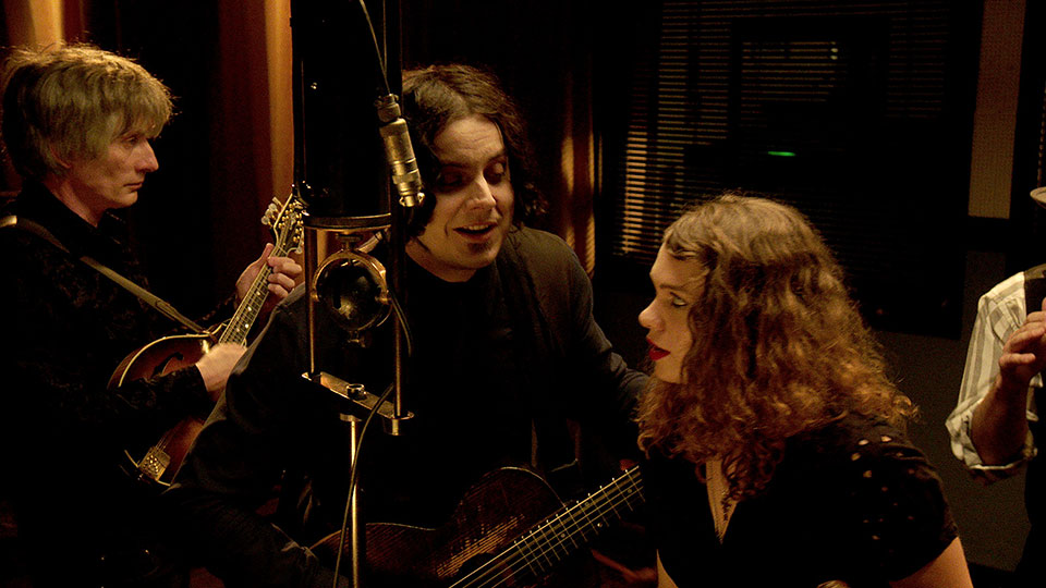"Jack White recording ""Matrimonial Intentions"" for ""The American Epic Sessions."""