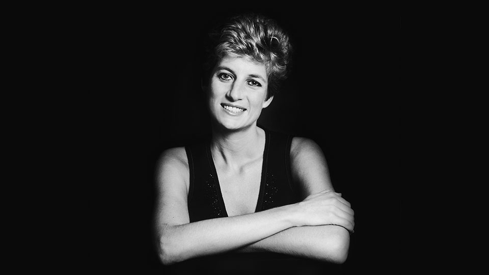 Portrait of Diana against a black background circa 1995