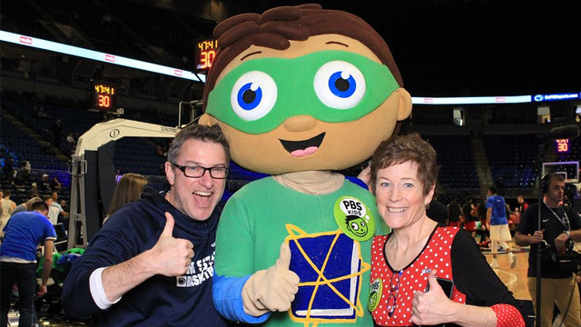 Super Why costumed character with guests at BJC