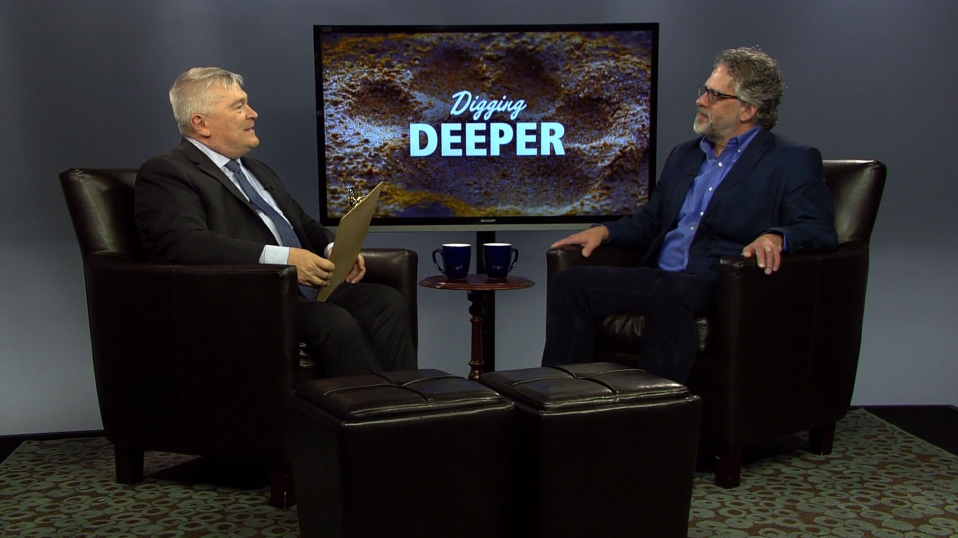 Eric Barron and guest on the set of Digging Deeper