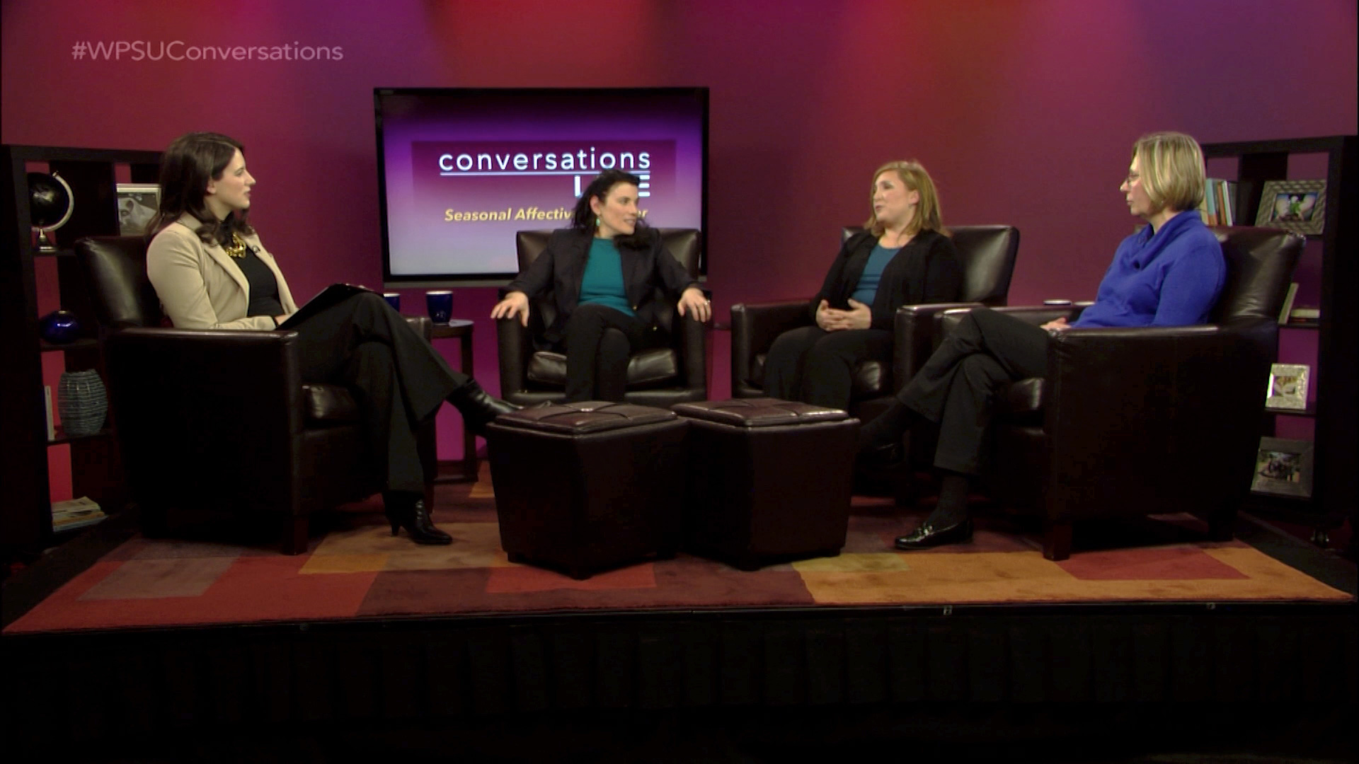 Host Lindsey Fenton and guests on the set of Conversations Live