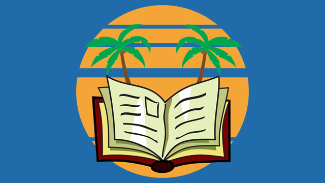 Illustration of open book with palm trees in background