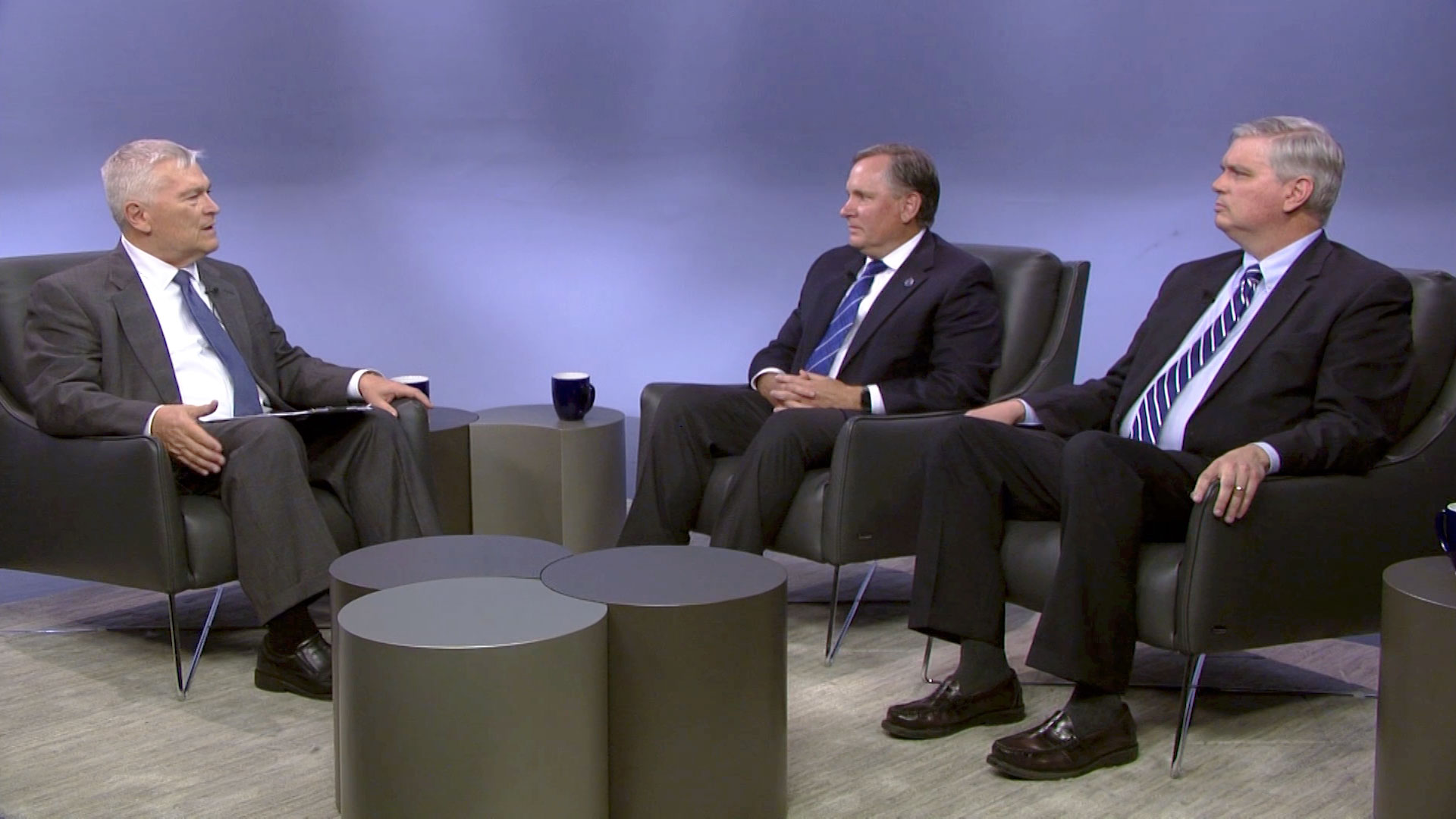 Penn State President Eric Barron and guests on the set of Digging Deeper