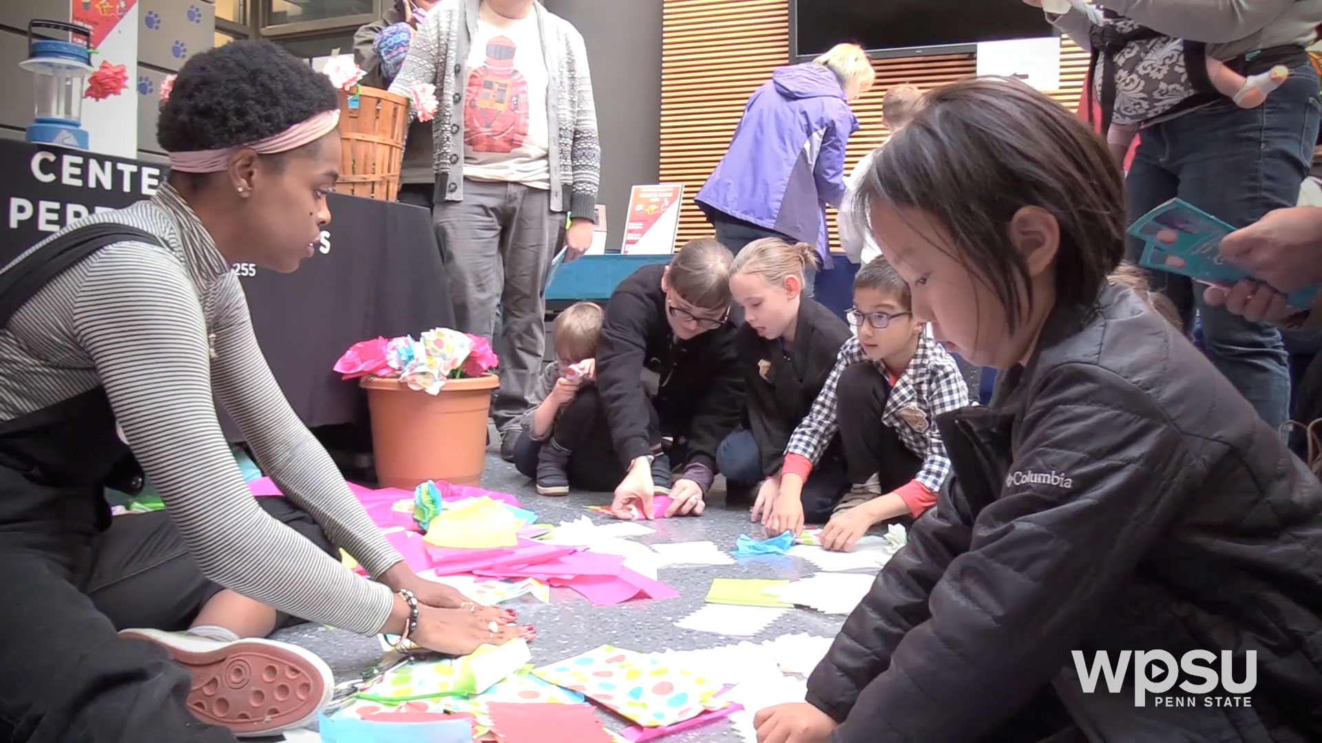 children participating in craft activities at WPSU studios