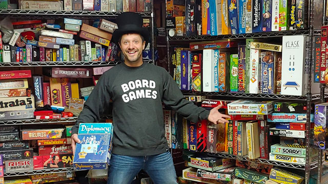 Essayist Lewis Murray and his board game collection