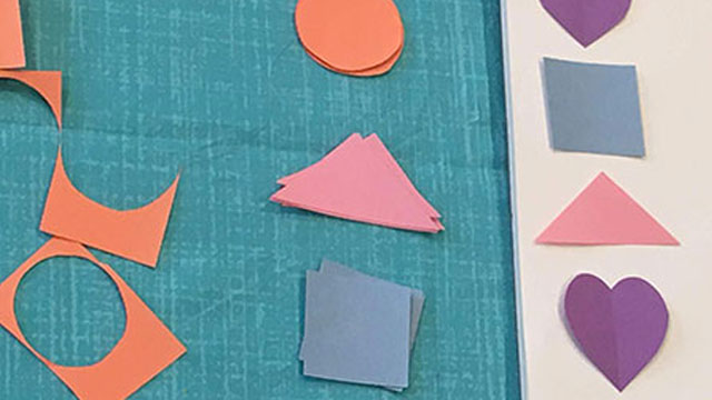 various shapes cut out of construction paper