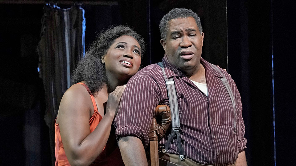 Angel Blue as Bess and Eric Owens as Porgy