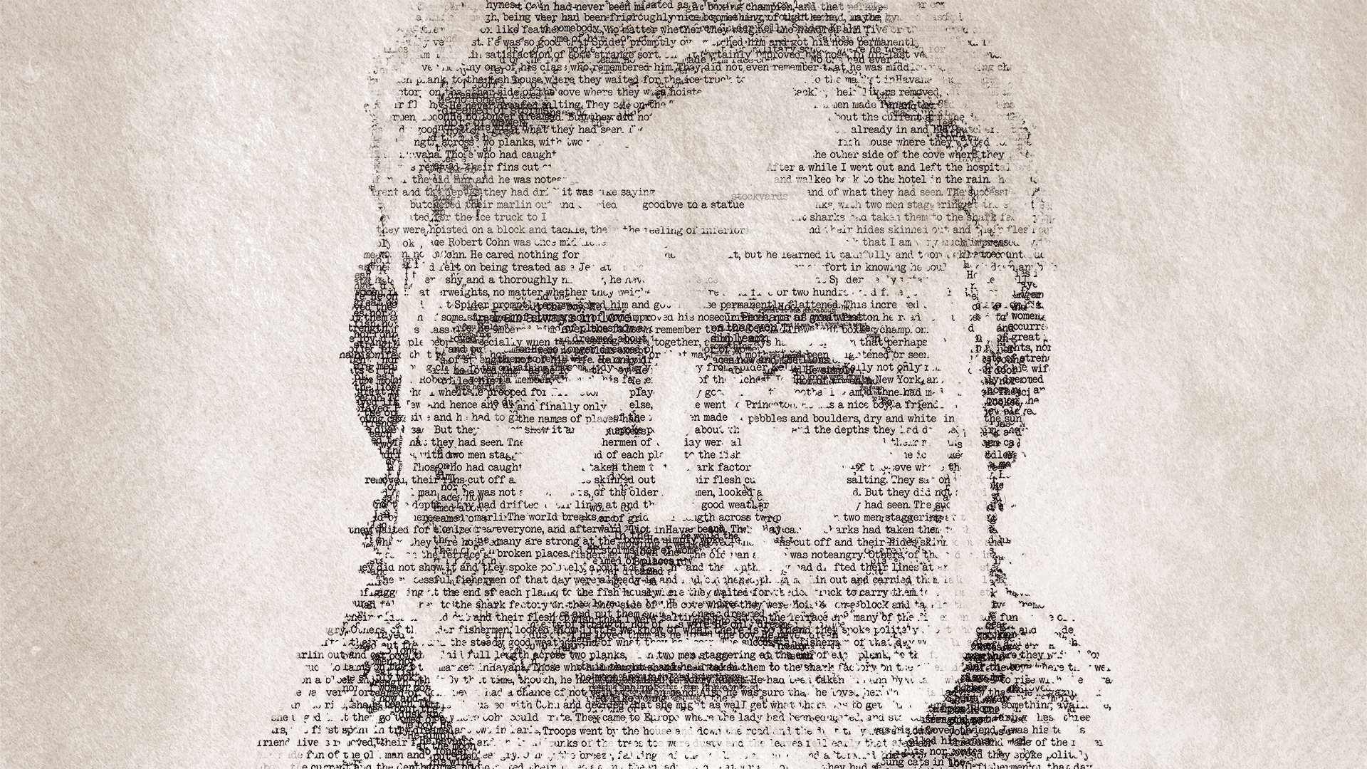 word cloud illustration of Hemingway