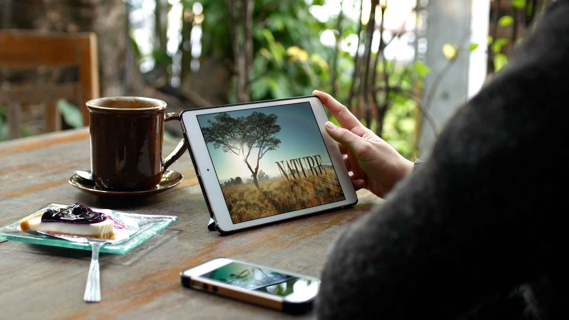 Watching Nature on tablet