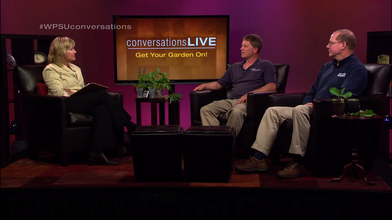 Patty Satalia and guest in discussion on the set of Conversations Live