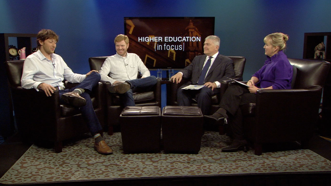 Matt Brezina and Chris Fanini with host Eric Barron and Patty Satalia on the set of Higher Education in Focus