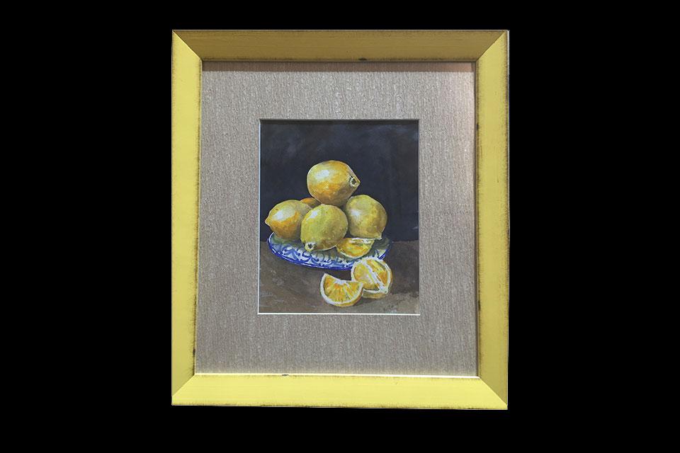 watercolor painting of lemons