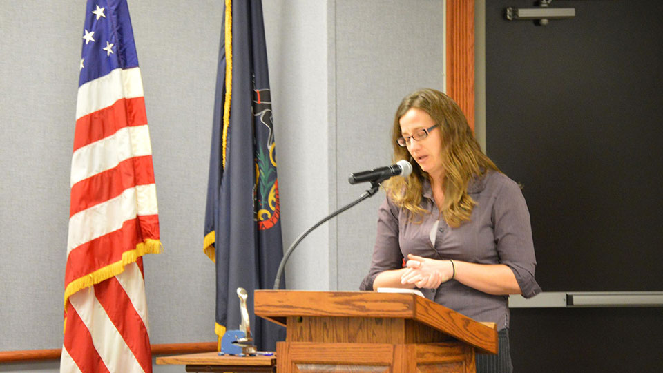 Colleen Unroes as she declines the position on the Ferguson Township Board of Supervisors. Credit Erin Cassidy Hendrick / WPSU