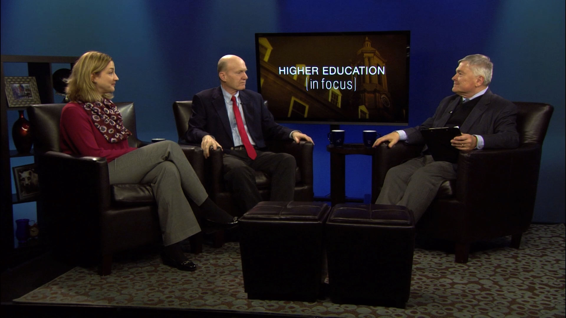 Eric Baron and guests on the set of Higher Education in Focus
