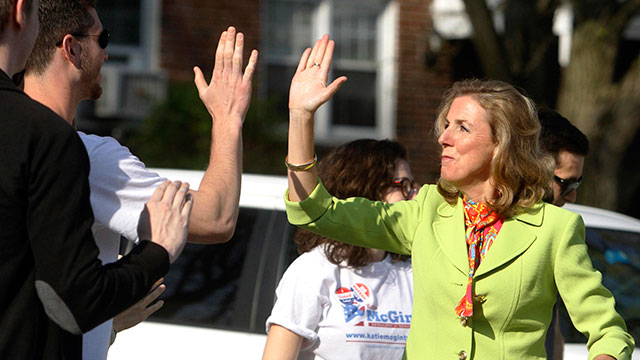 Katie McGinty greeting supporters