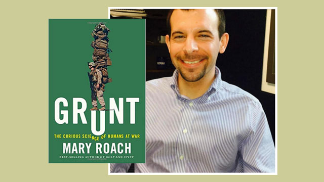 cover of Grunt by Mary Roach with photo of book reviewer
