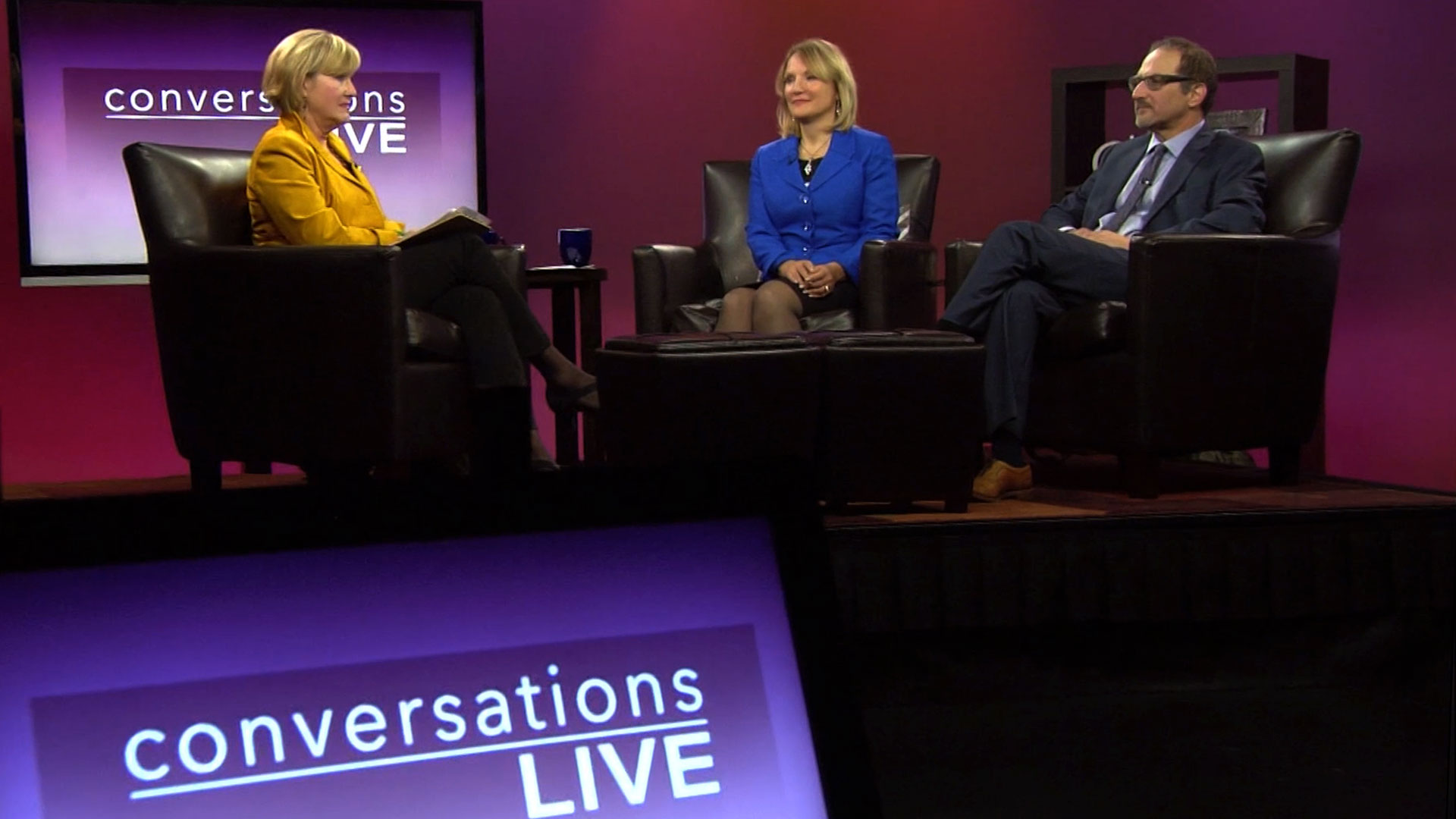 Host Patty Satalia and guests on the set of Conversations Live