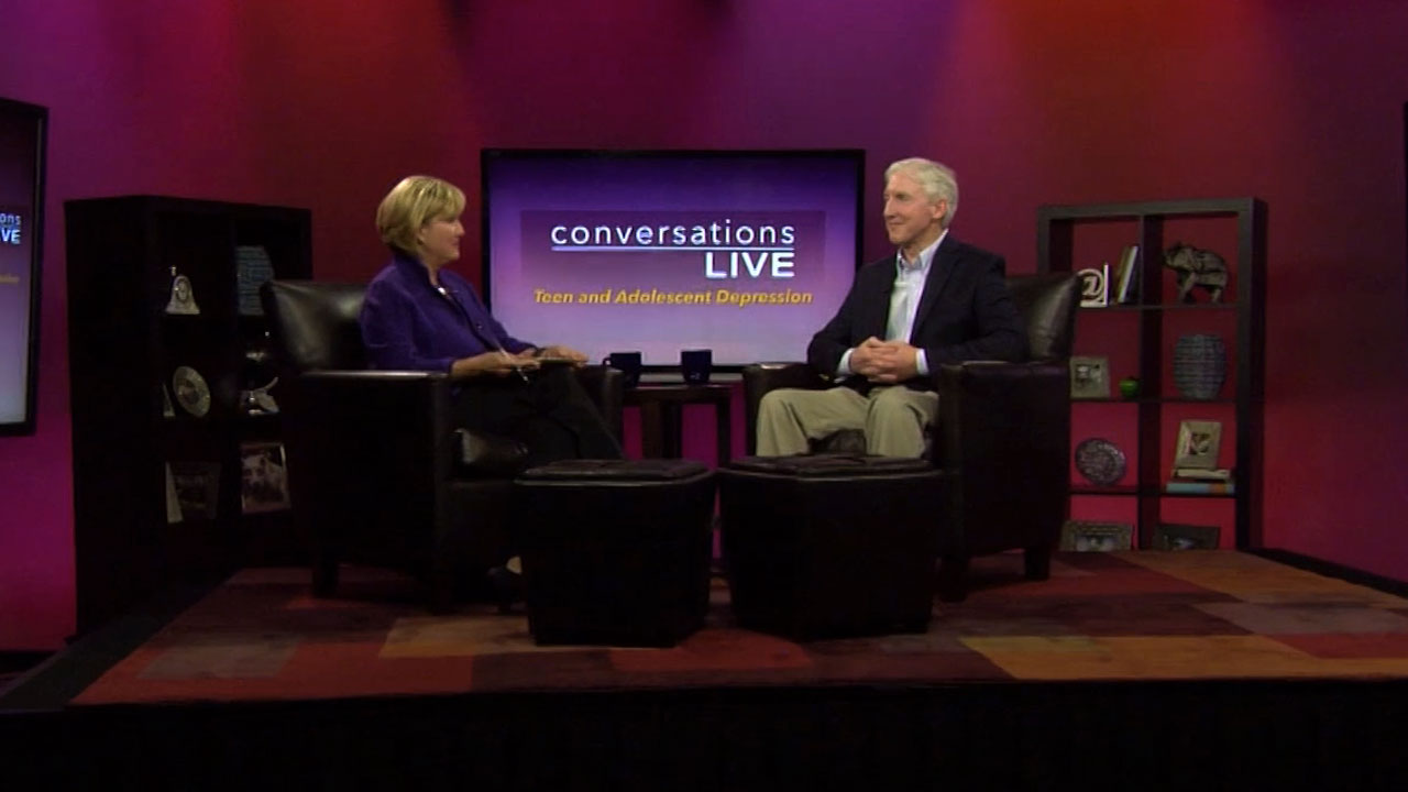 Patty Satalia and guest on the set of Conversations Live
