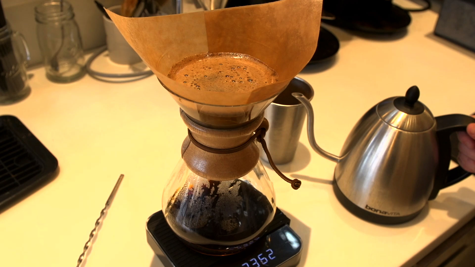 Coffee being filtered into a pot