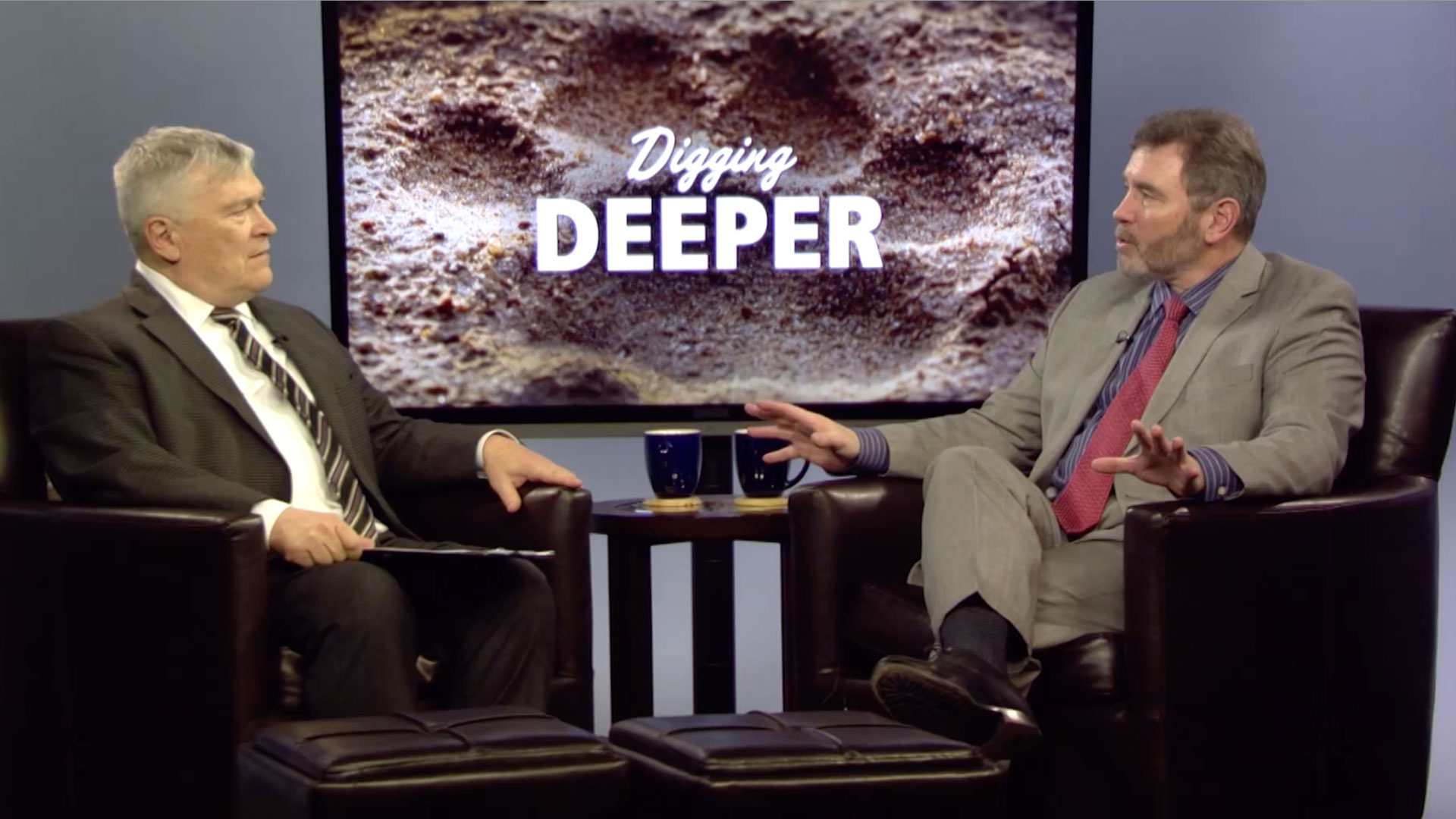 Eric Barron and Dennis Davin on the set of Digging Deeper
