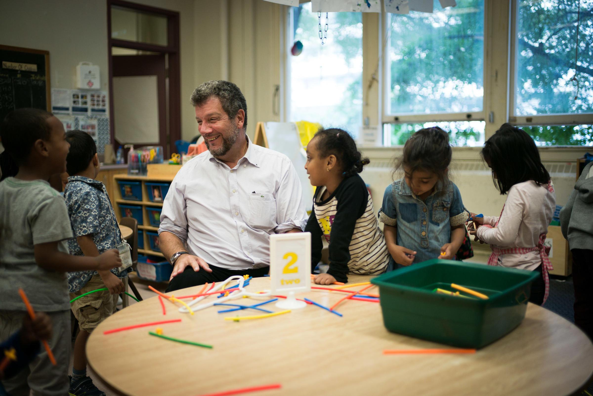 Principal David Crichton, with students at Rose Avenue Public School in Toronto, Ontario, Canada.